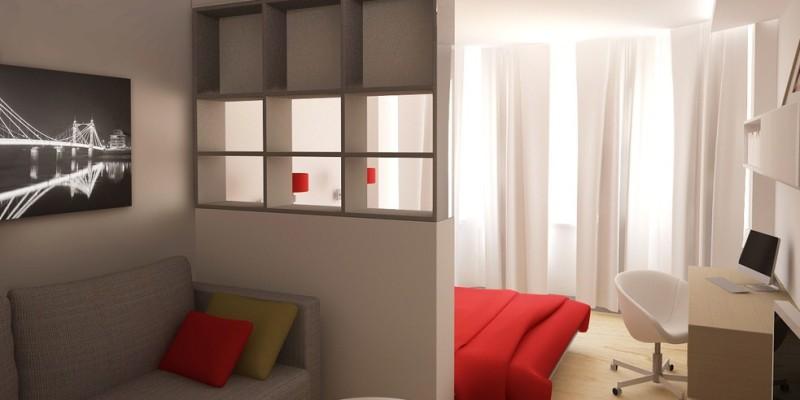 Зонирование спальни и гостиной перегородкой