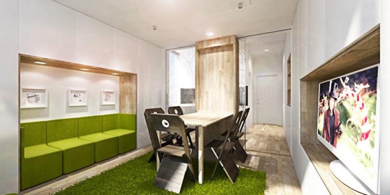 Стол-трансформер в гостиной однокомнатной квартиры