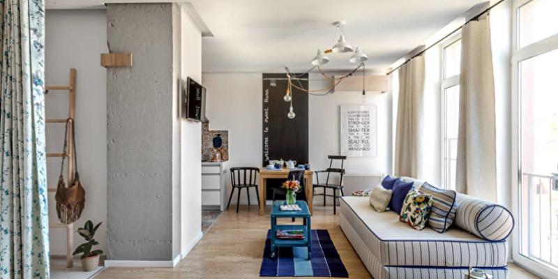 Оформление спальни-гостиной в однокомнатной квартире