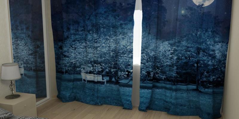 Кроме темной отделки в спальне также используются темные шторы