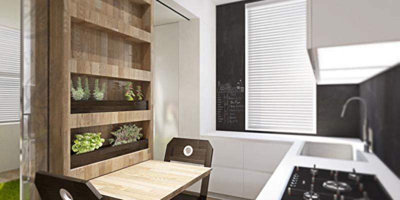 Стеллаж на кухне в интерьере однокомнатной квартиры