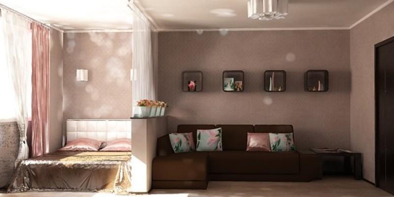 Дизайн спальни и гостиной площадью 18 м2