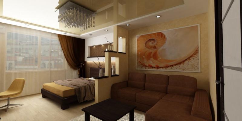 Фото спальни-гостиной площадью 18 кв. м