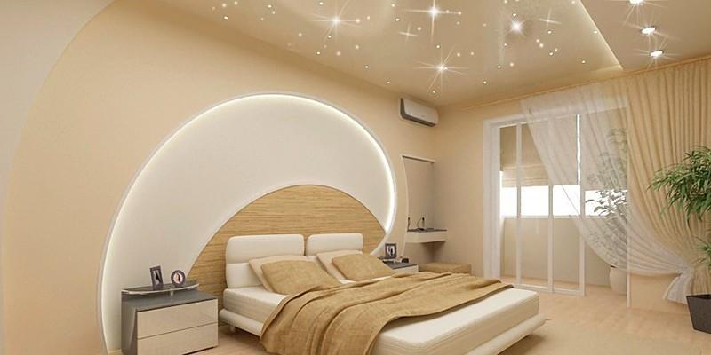 натяжной потолок белый глянцевый +с лампочками фото