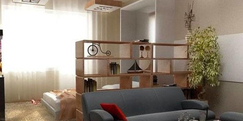 Зонирование комнаты 18 кв. м стеллажом