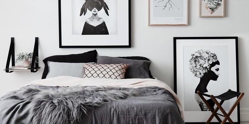 Декор стен спальни в скандинавском стиле