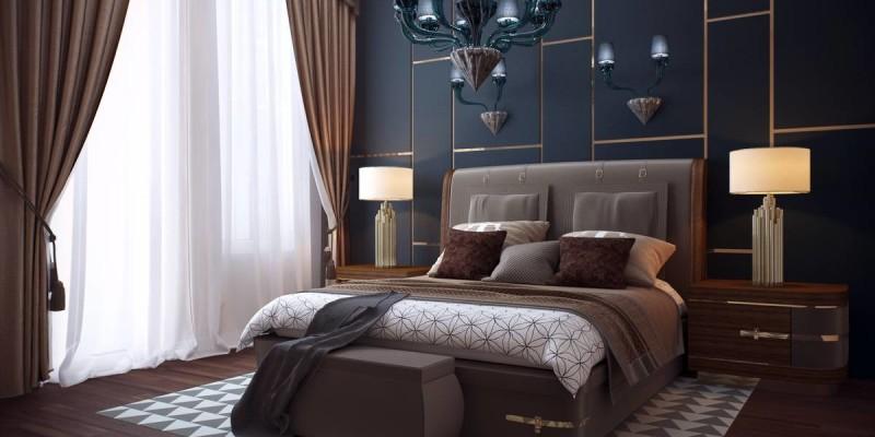 Изысканная спальня в темных тонах