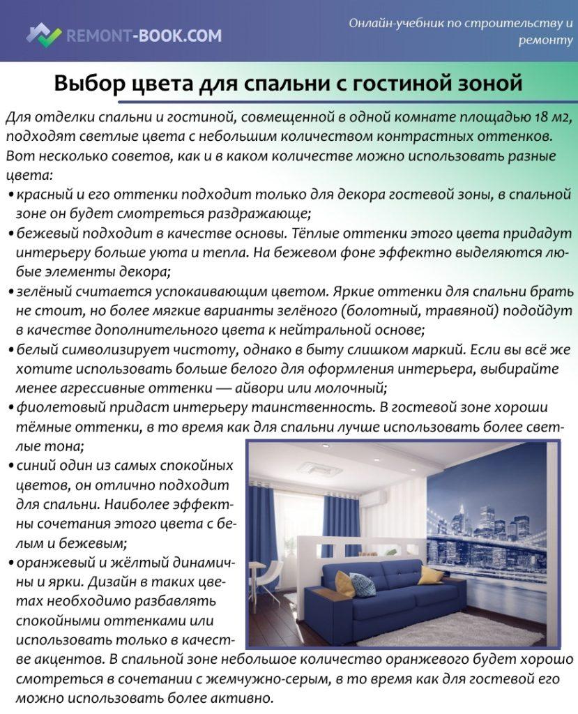 Выбор цвета для спальни с гостиной зоной