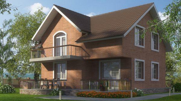 Двухэтажный коттедж с балконом и террасой