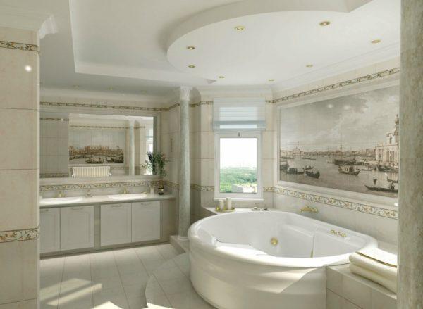 Интерьерные панно из керамической плитки — это один из самых оптимальных способов украсить интерьер ванной комнаты