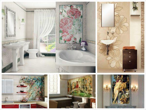 Настенное панно из керамической плитки великолепно смотрится в ванной, кухне, прихожей
