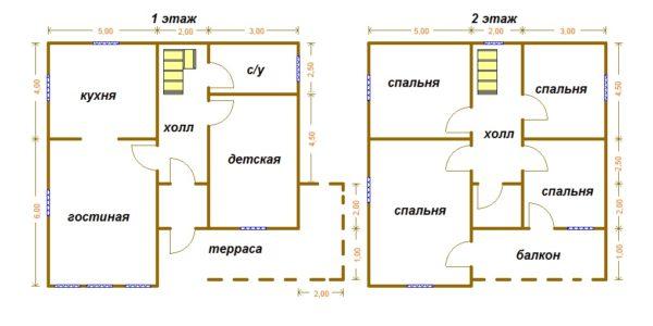 Проект дома 10х10 с отличной планировкой, 2 этажа