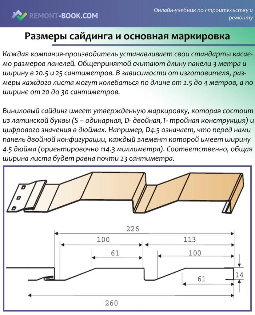 Размеры сайдинга и основная маркировка