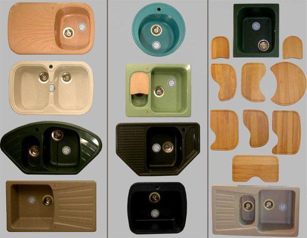 Разновидности кухонных моек по формам