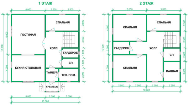 Современный проект дома 10х10 с отличной планировкой на 2 этажа можно реализовать из бревен, пеноблоков, бруса, камня