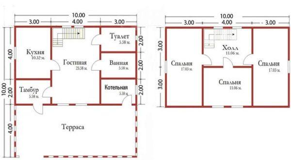Схема дома 10х10