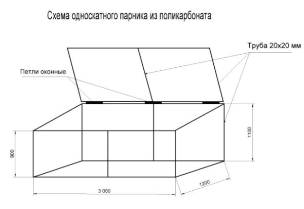 Схема односкатного парника из поликарбоната