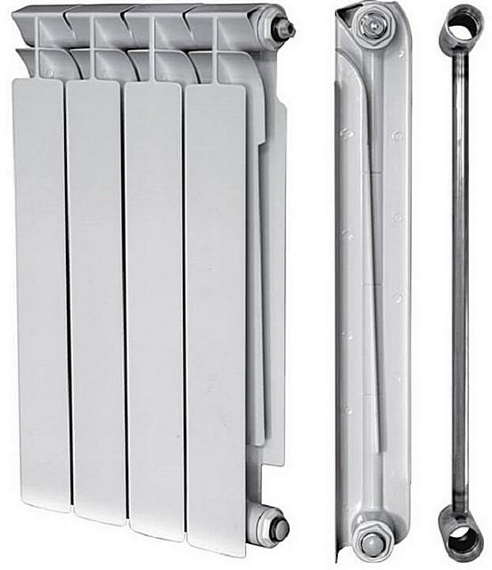 Конструкция биметаллических радиаторов – трубы из нержавейки и алюминиевые теплообменные кожухи.