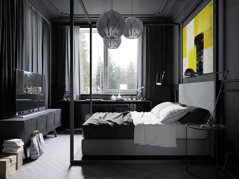 Изюминкой этой эффектной черно-белой спальни выступает контрастная композиция над изголовьем кровати