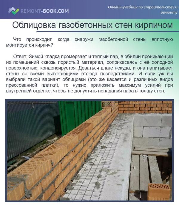 Облицовка газобетонных стен кирпичом
