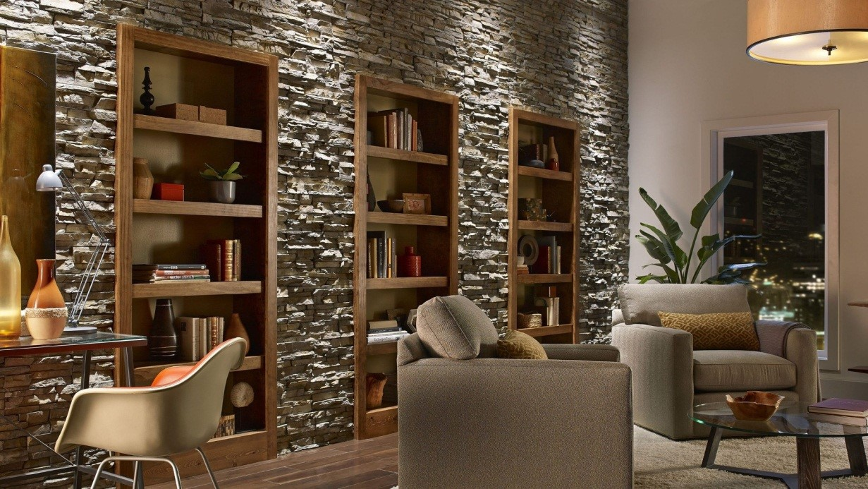 фото дизайн комнаты с диким камнем единственный