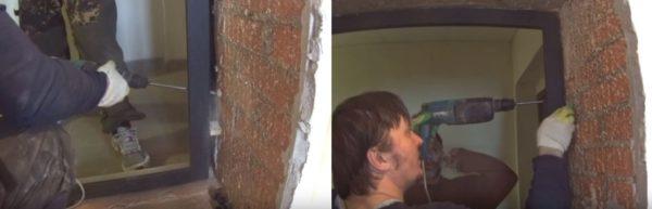 Высверливают в стене крепежные отверстия