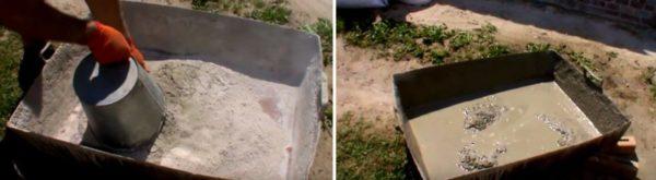 В сухое корыто высыпается цемент, затем заливается вода