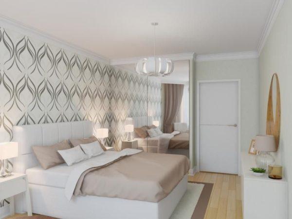 В такой спальне гармонично смотрятся обои с крупным рисунком
