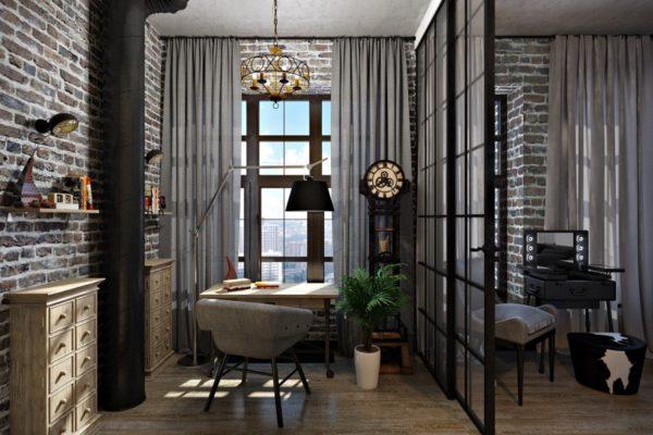 Домашний кабинет с портьерами