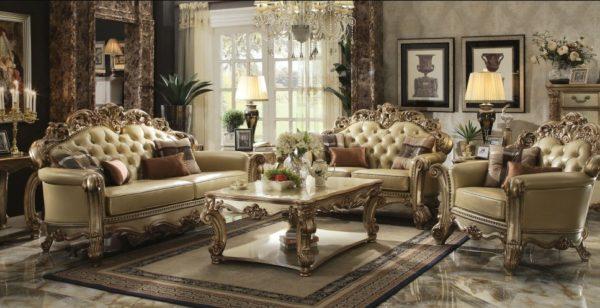 Мраморные полы в гостиной, стиль барокко