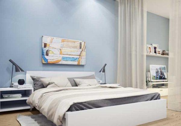 Для стен чаще всего выбирают белый цвет и пастельные оттенки синего