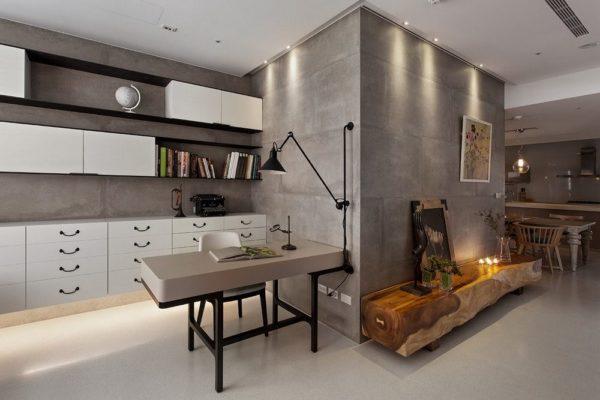 Стены кабинета «под бетон»