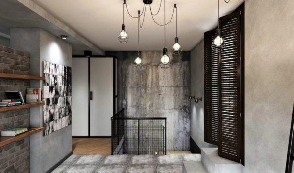 Под фактуру бетона стилизуется и потолок, и напольная плитка