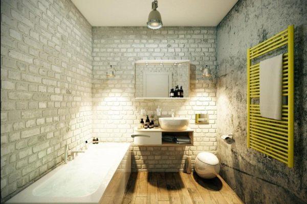 Кладка и бетонная стена в лофт-интерьере