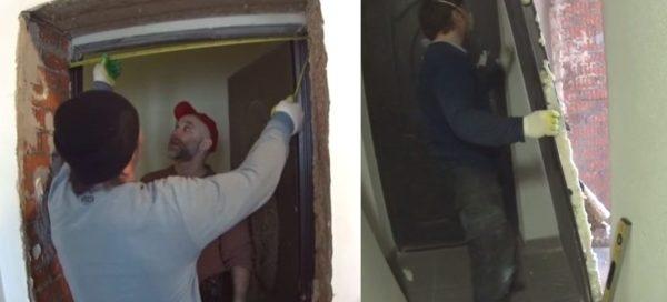Выполняют замеры проема и демонтируют старую дверь
