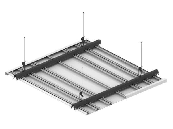 Схематически собранный реечный потолок