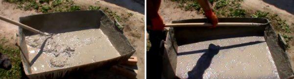Цемент с водой нужно размешивать до растворения комочков