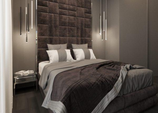 Теплые шоколадные оттенки придают спальне уютный вид