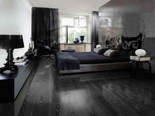 Вариант напольного покрытия для черно-белой спальни в стиле модерн