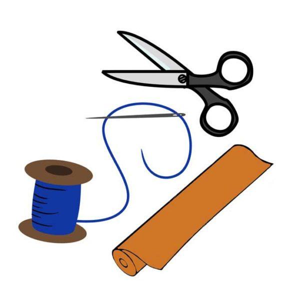 Для изготовления простыни нужен стандартный инструментарий швеи