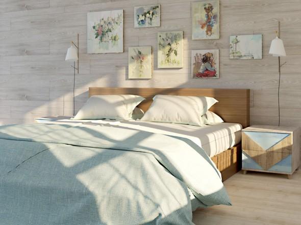 Картины над кроватью - единственный декор стен