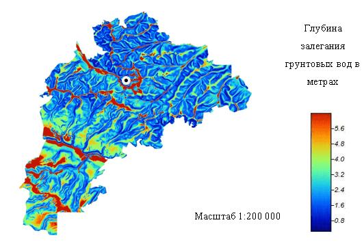 Пример составления карты с данными по глубине залегания вод