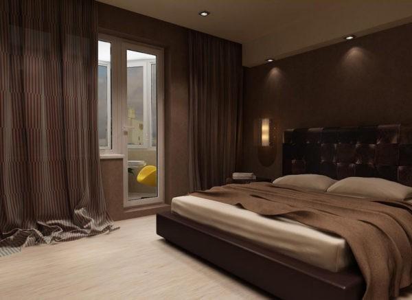 Темно-коричневый - популярный цвет отделки для спальных комнат