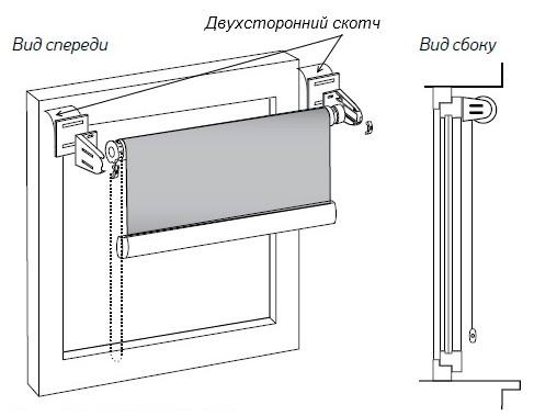 Принцип фиксации устройства на двухсторонний скотч