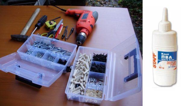 Помимо инструментов понадобится и клей ПВА