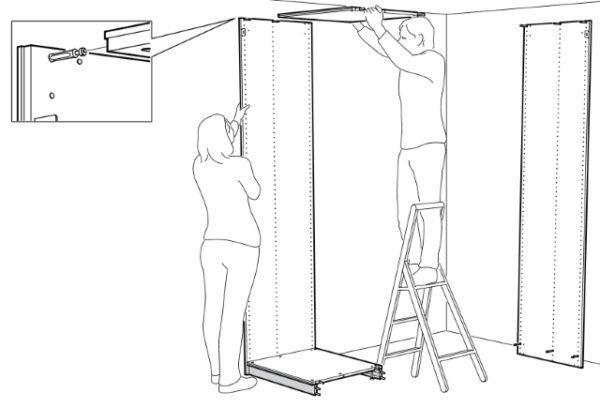 Для вертикальной сборки шкафа понадобится помощник