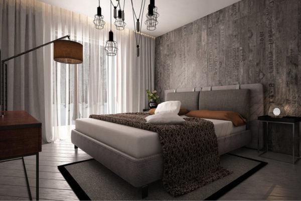 Для спальни в стиле лофт использованы обои с оригинальным рисунком