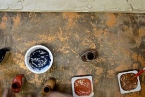 Шаг 7 – колеровка венецианки в три оттенка