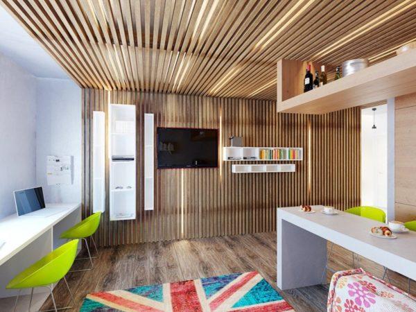 Реечный потолок перекликается со схожей конструкцией на стене