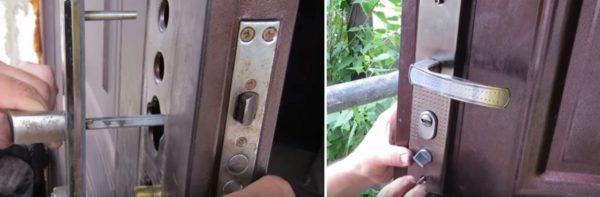 Фиксация дверных ручек с декоративными планками